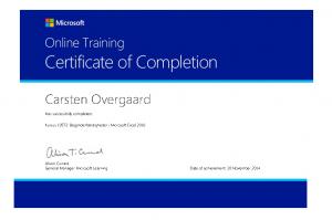 Kursus 10572: Begynderfærdigheder iMicrosoft Excel 2010