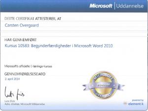 Online kursus: Word 10583: Begynderfærdigheder i Microsoft Word 2010