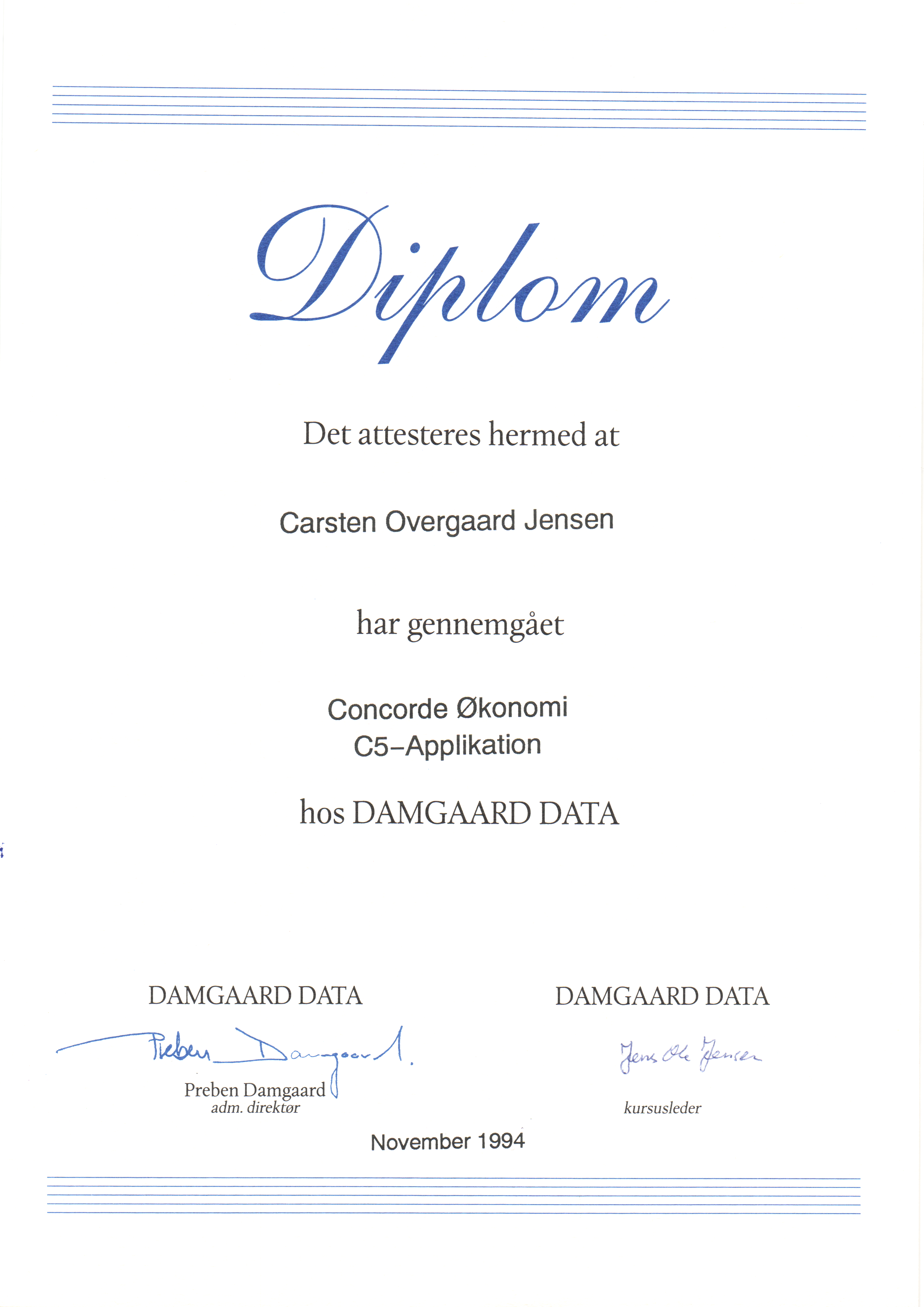 Kursus certifikat Concorde Økonomi C5-Applikation