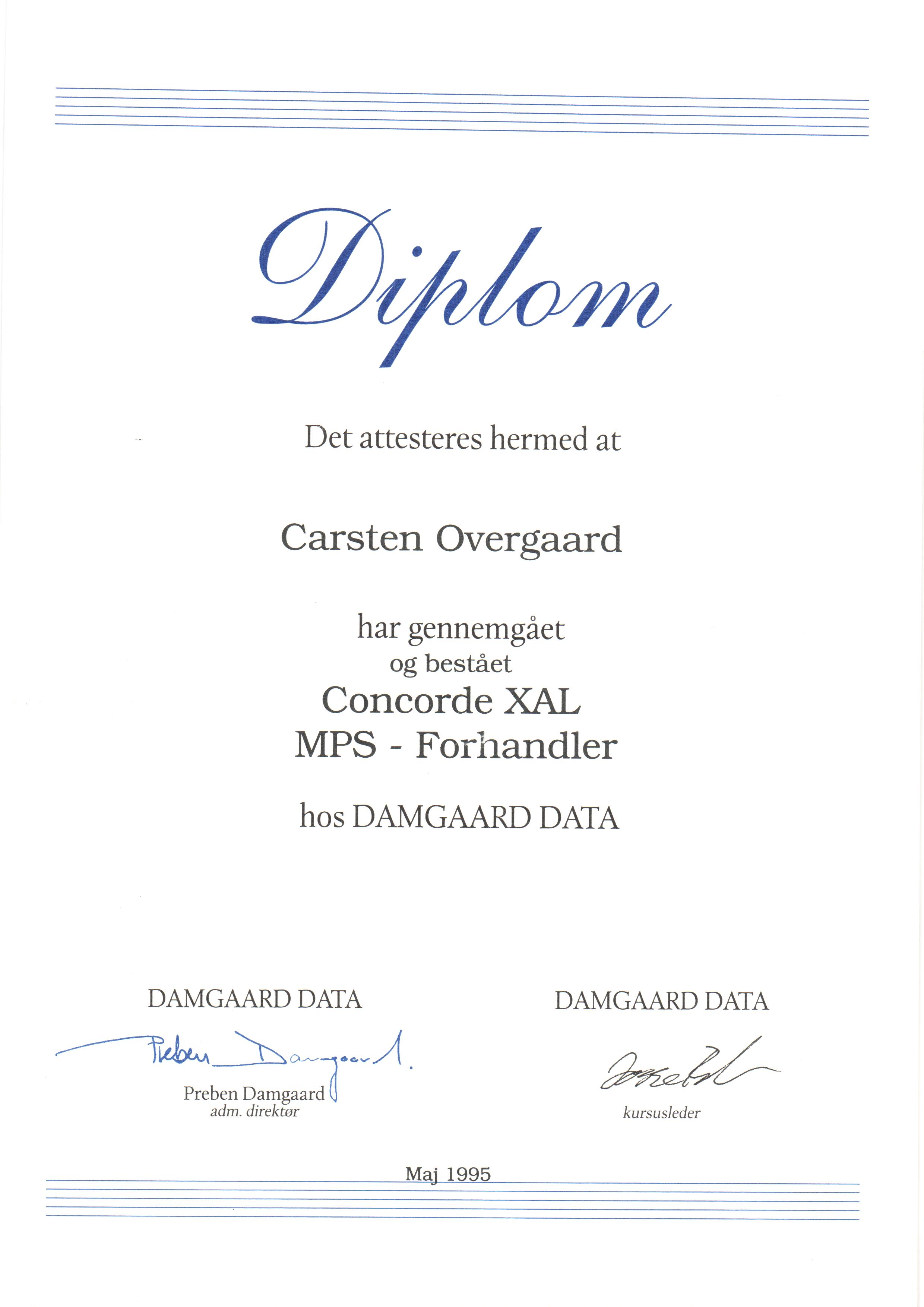 Certifikat: Concorde XAL MPS - Forhandler