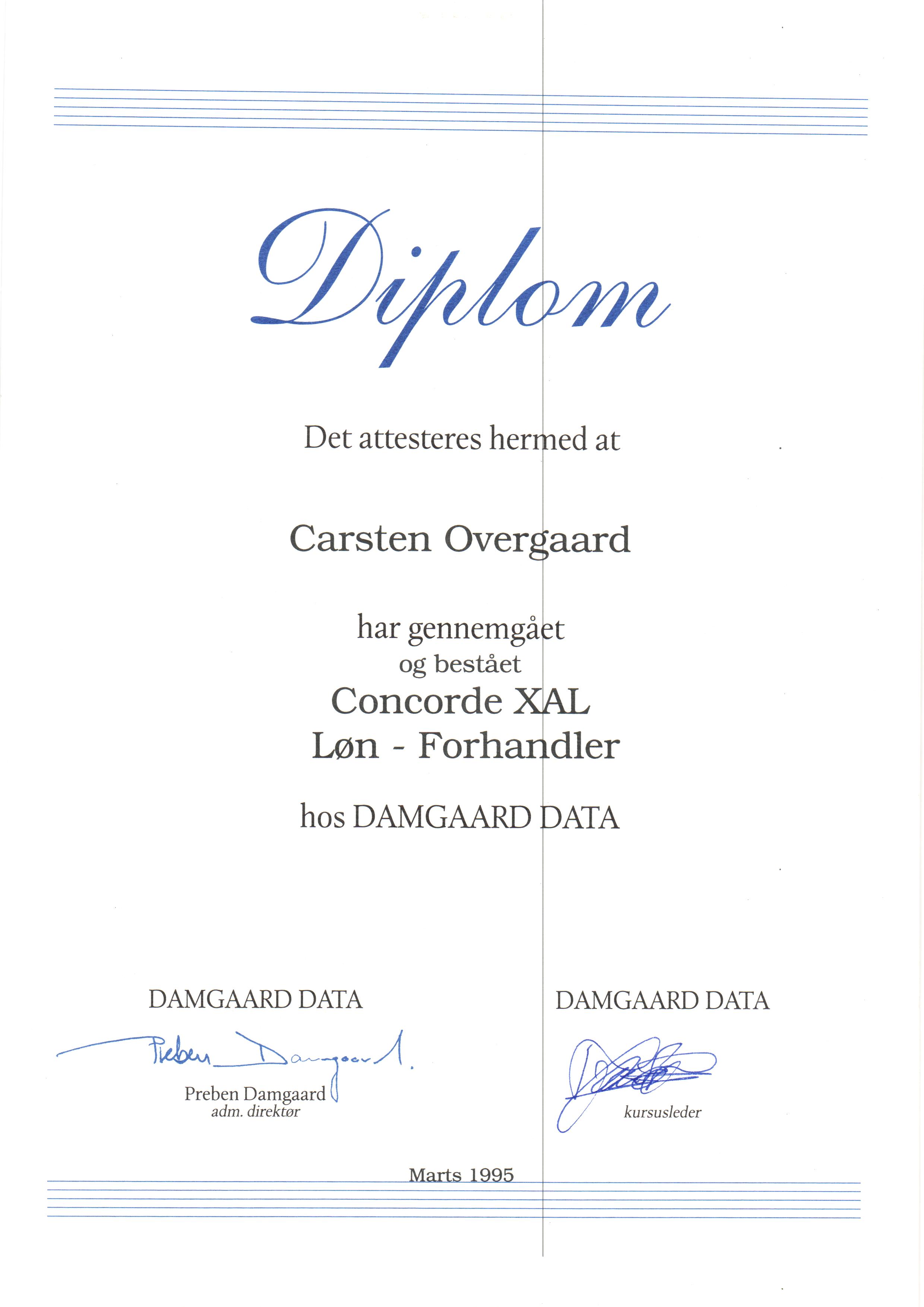Certifikat: Concorde XAL Løn-Forhandler