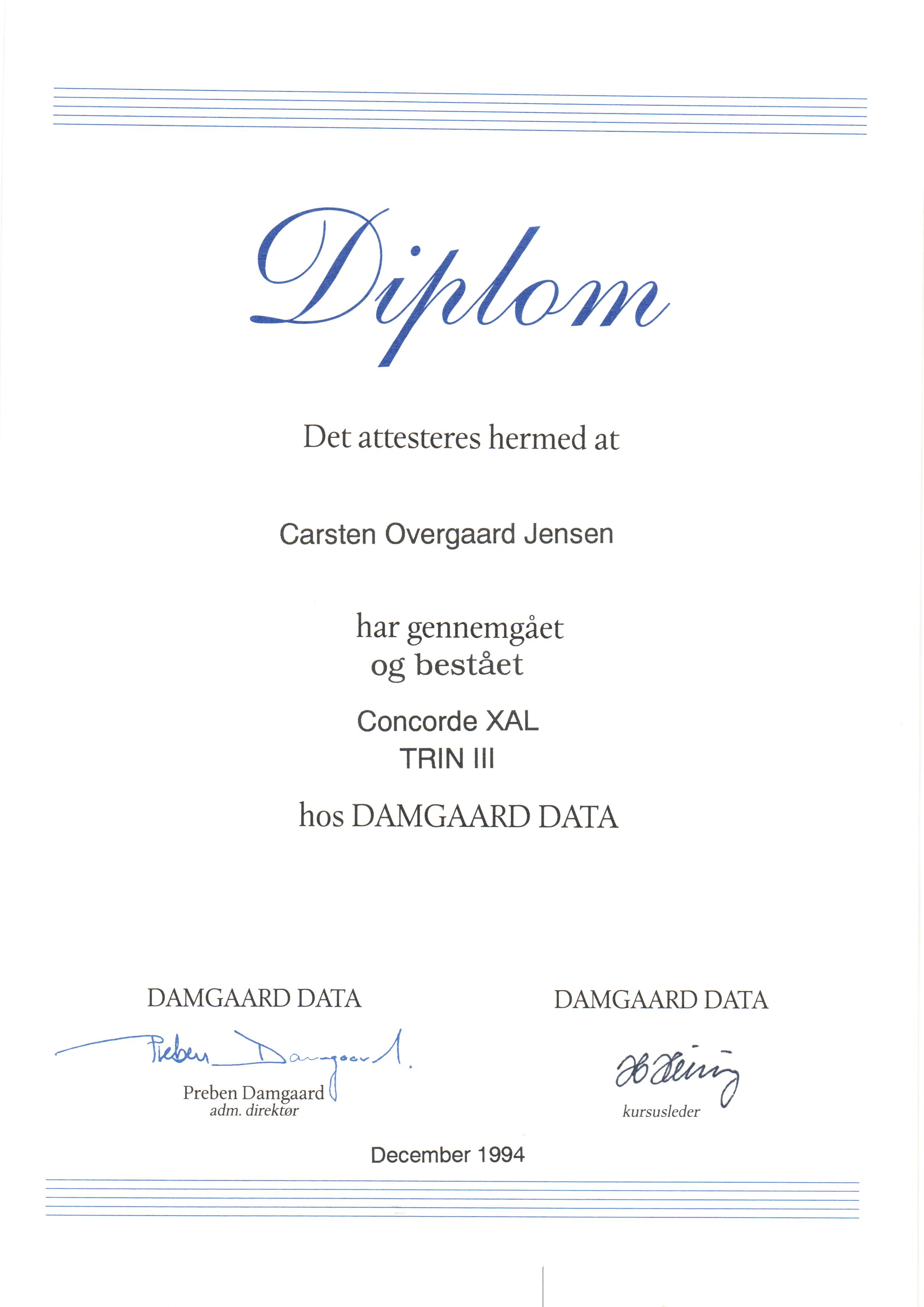 Certifikat: Concorde XAL trin III